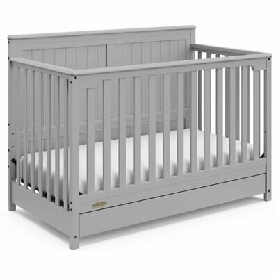 Graco Hadley 4 in 1 Convertible Crib with Drawer in Pebble Gray