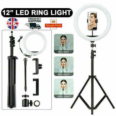 "12"" LED Ring Light Lamp Stand Kit Dimmable Photo Studio Selfie Phone Live Makeup"