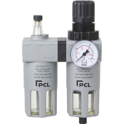 "PCL Professional Quality Air Tools 1/4"" Filter Regulator Lubricator - ATCFRL6"