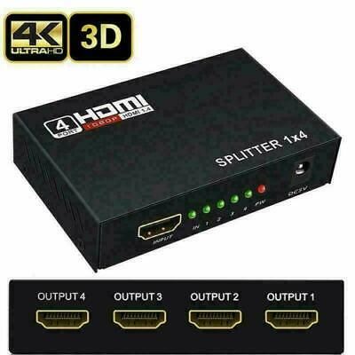 4K HDMI 2.0 Cable Repeater Mirror Splitter Amplifier HUB Box 3D 1 In 4 Out 1x4