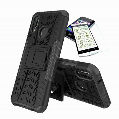 Für Huawei P20 Lite Hybrid Tasche Outdoor 2teilig Schwarz Hülle + H9 Glas Hülle