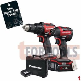 PANASONIC EYC217 18V BRUSHLESS TWIN PACK LIMITED RED EDITION (COMBI DRILL, IMPACT DRIVER, 2X 5.0AH)