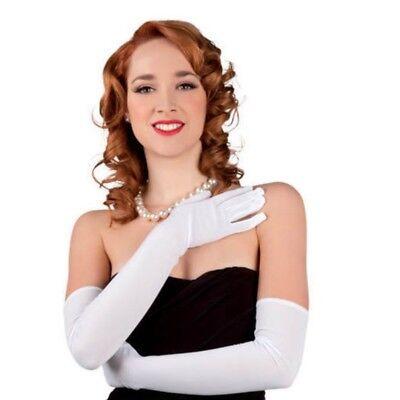 elegante Opernhandschuhe weiße 60 cm lang Damen Handschuhe - Kostüm #3101