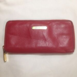Dark Red Leather Michael Kors Zippered Wallet