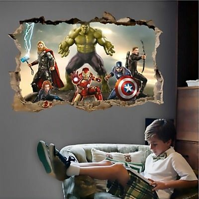 3D The Avengers Super Hero Art Wall Sticker Kids BOY Room Decor Decals - Boys Room Decor