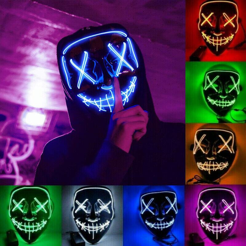 LED Horror Maske mit 3 versch Modi,Grusel Clownmaske Halloween Party Verkleidung
