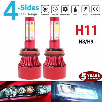 pair 4-sides LED Headlight Kit H11 H8 H9 2000W 6000K 300000LM Hi/low Beam Bulbs