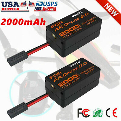 2× 2000mAh For Parrot AR Drone 2.0 Battery 11.1V 20C Upgrate Li Po Battery TP US