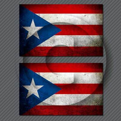 Islands Flag Decal Sticker (Puerto Rico Flag Distressed Decal Sticker Vintage Victory Island USA 2 Decals )