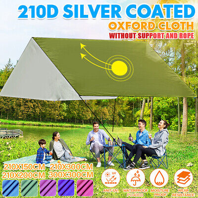 Outdoor Camping Pad Canopy Tent Shelter Tarp Festivals 190x240x0.1cm Silver