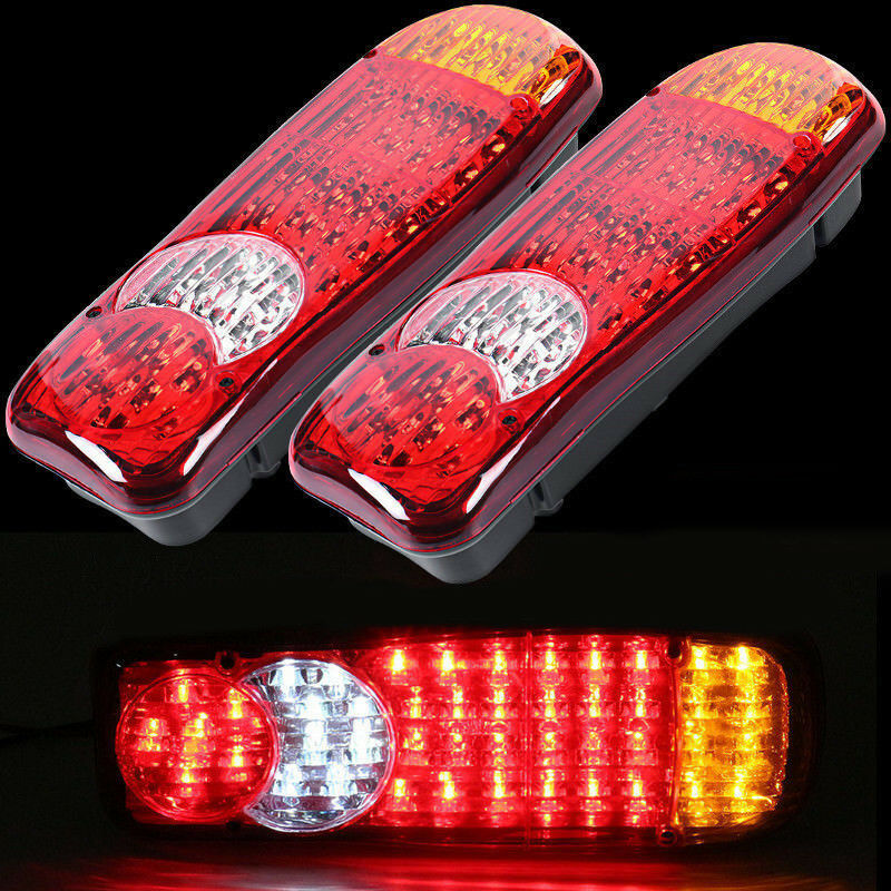 Led Rear Tail Lights For Transporter Truck Lorry Trailer Tipper Chassis 24v Set