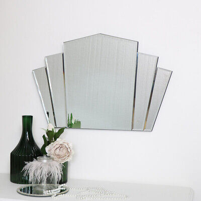 Art Deco Fan Frameless Wall Mirror vintage bedroom bathroom shabby chic decor