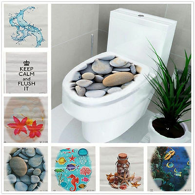 Home Decoration - New 3D Toilet Seat Wall Sticker Bathroom Decal Vinyl Mural Home Decor US STOCK