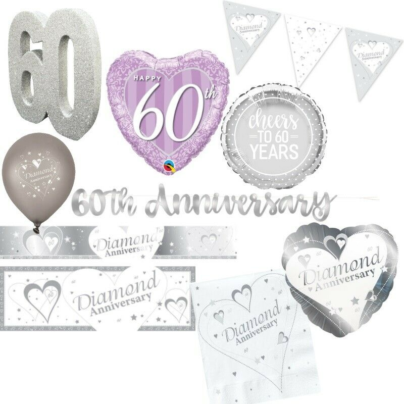 60th Diamond Wedding Anniversary Party Supplies Tableware De