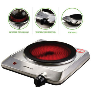 "Ovente Countertop Infrared Burner – 1000 Watts – 7.5"" Ceramic Gl"