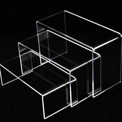 New Clear Acrylic Riser Stand Shelf Window Counter Display Jewelry Gift Showcase