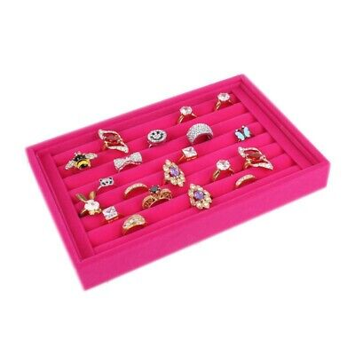 Rose Velvet Jewelry Ring Display Earring Show Case Organizer Shelf Boxes Tray