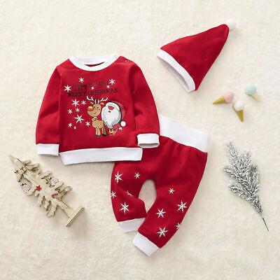 Christmas Newborn Baby Boys Girls Clothes Tops Romper Pants Hat Outfits 3Pcs Set ()