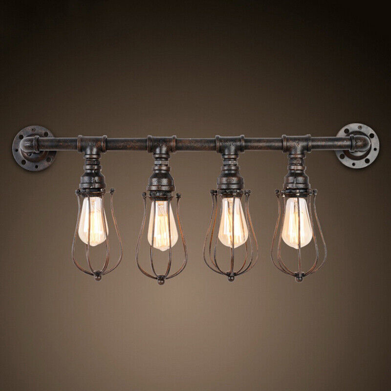 big sale 3384c 5fce8 Details about Industrial Rustic Pipe 4-light Wall Sconce Steampunk Vanity  Lighting Fixture