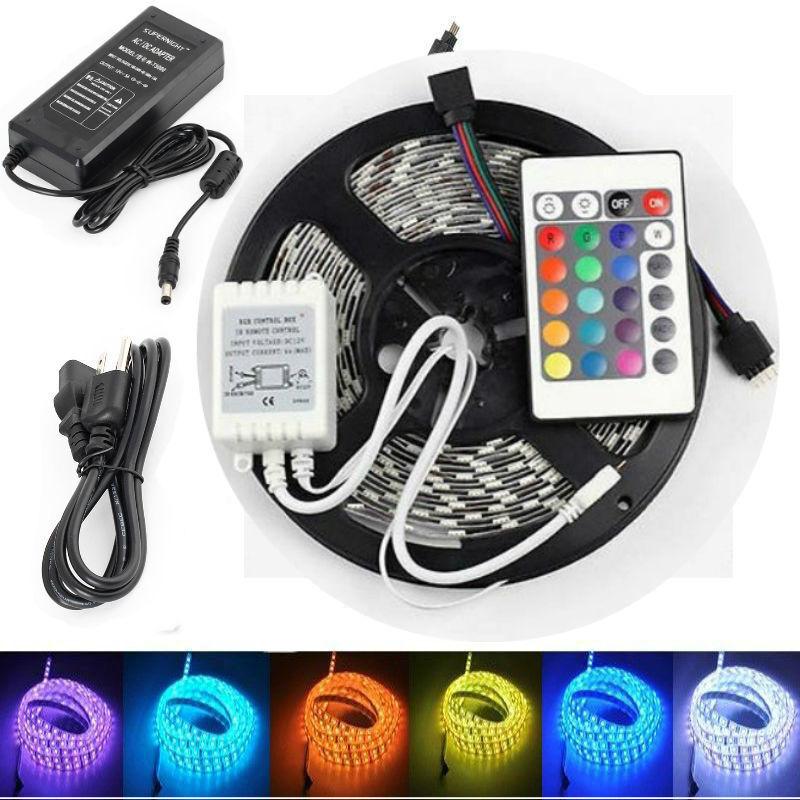 Led - 5M RGB 5050 Waterproof LED Strip light 300 SMD 24 Key Remote 12V Supply Power