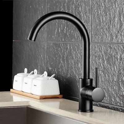 Gooseneck Single Lever 1-Hole Solid Black Kitchen Pot Filler Faucet Solid Brass