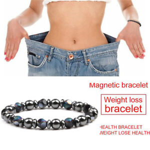 Charm Hematite Stone Bead Stretch Bracelet Healing Magnetic Therapy Weight Loss.