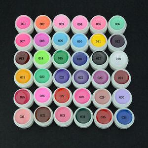 36 Mix Pure Color Pots UV Gel Polish Builder Soak Off Nail Art Extension Tips