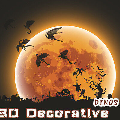 Halloween 7Pcs/Set DIY 3D PVC Dragon Art Decal Home Decor Wall Mural Stickers - Diy Halloween Wall Decorations