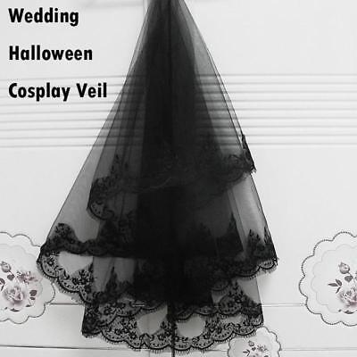 lack Halloween Wedding head hair Lace Party Veil With Comb (Bridal Veil Halloween)
