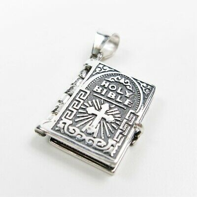 925 Sterling Silver Lord's Prayer Holy Bible Open Pages Locket Charm Pendant (Prayer Locket)
