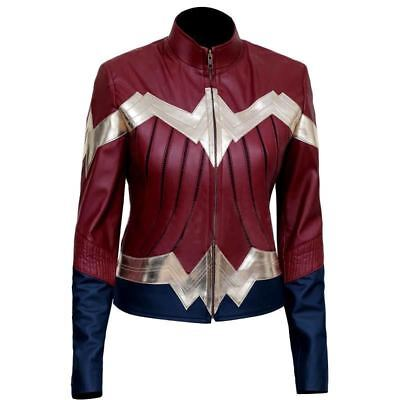 Wonder Woman Neues stilvolles Damen Halloween Kostüm Prty Lederjacke
