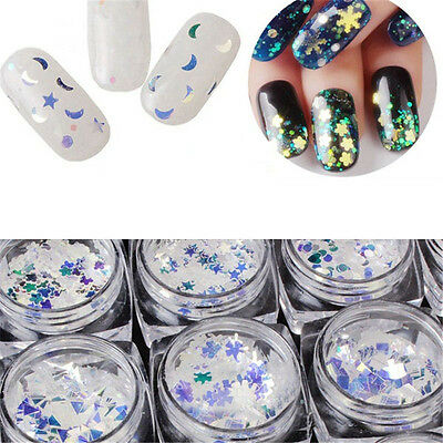 (Colorful Blue Glitter Nail Art Sequins Heart Star Butterfly Moon Pattern)