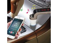 Bluetooth Handsfree Car Kit A2DP Music Streaming FM Transmitter Radio Adapter MP3 Player USB Charger