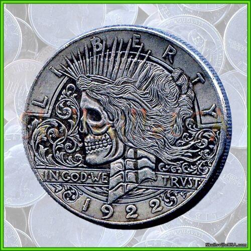 1922 Hobo Liberty Peace Dollar & Free Case - Rare Collectible Fantasy Skull Coin