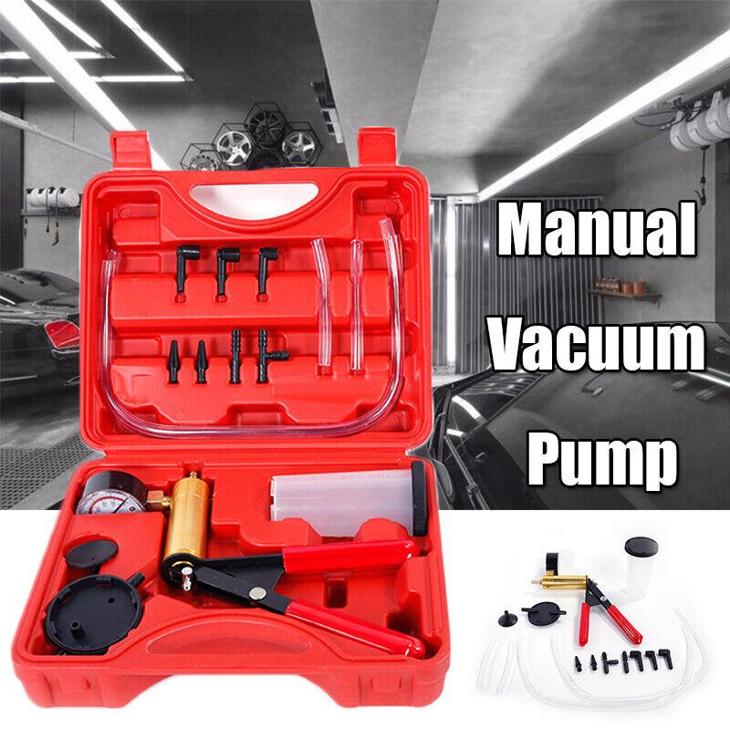 Professional 2in1 Manual Vacuum Pump Brake Bleeder Gauge Test Tuner Tool Kit USA