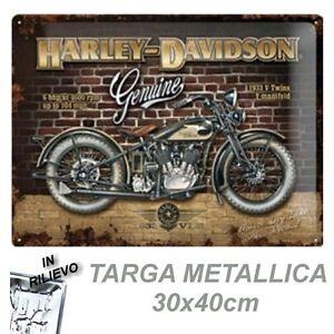 HARLEY-DAVIDSON-GENUINE-RETRO-TARGA-METALLICA-30X40-CM-METAL-CARD-BLECHSCHILD