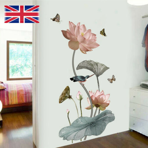 Home Decoration - Self-Adhesive Lotus Flower Wall Stickers DIY Art Decal Home Decor Removable UK