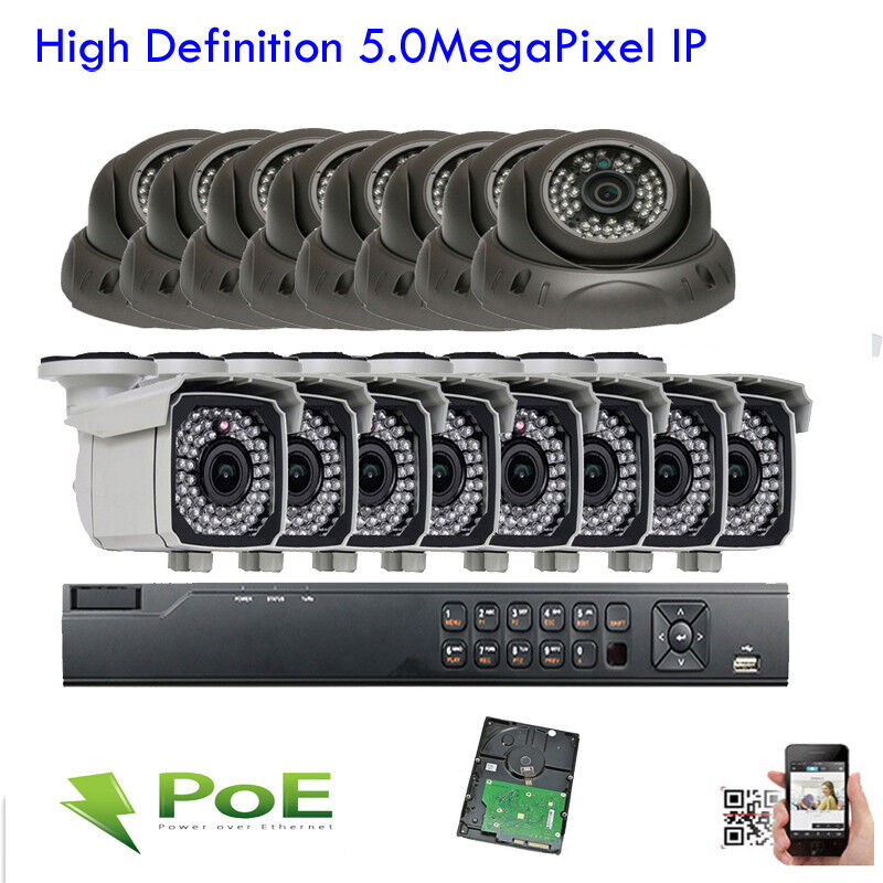 New 16ch Network 5mp Nvr Sony Cmos 2592x1920p Ip Poe Onvif Cctv Camera Security
