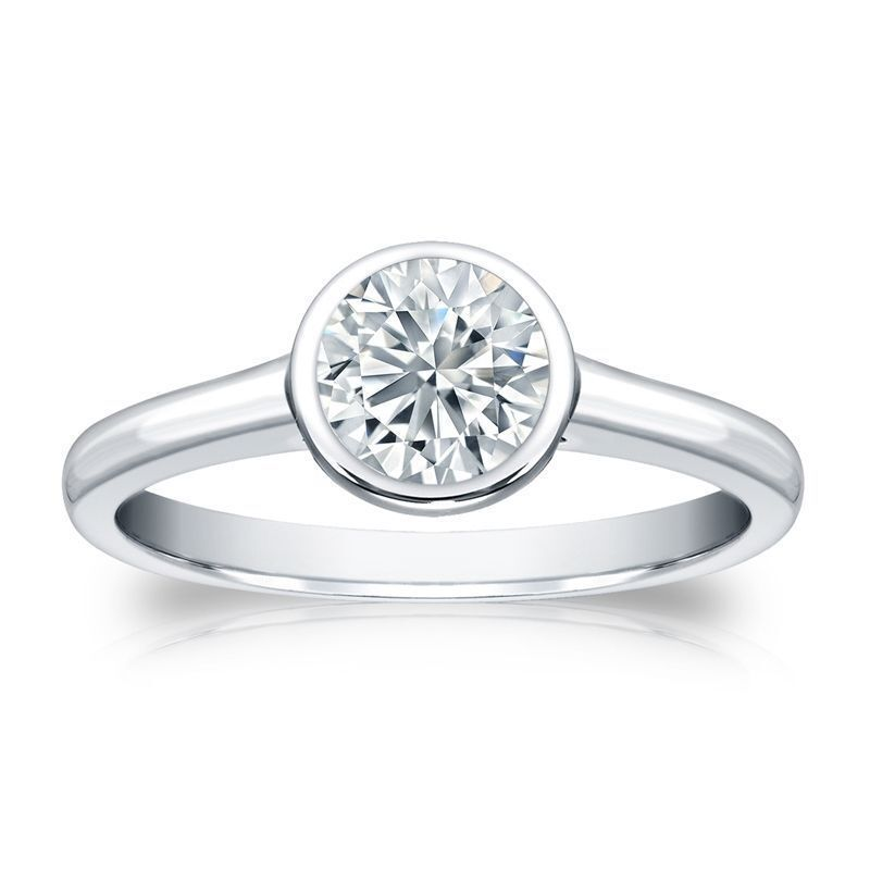GIA Certified 0.30 Cts F/VS1 Natural Diamond Bezel Set Ring In Solid 14K Gold