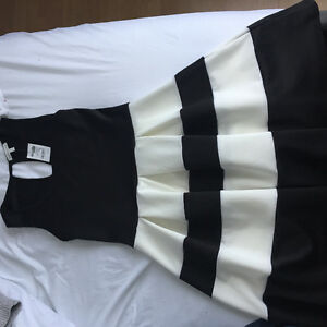 Tags Still on Black and White Dress
