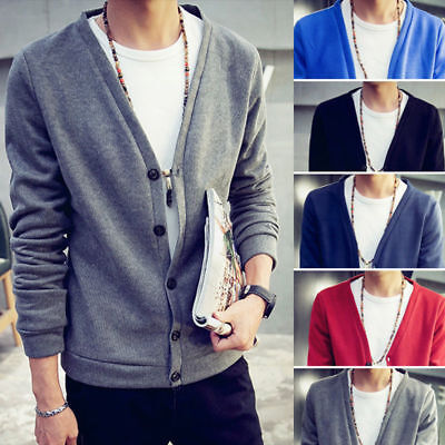 Men Casual V-neck Cardigan Jacket Jumper Knit Coat Long Sleeve Sweater ()