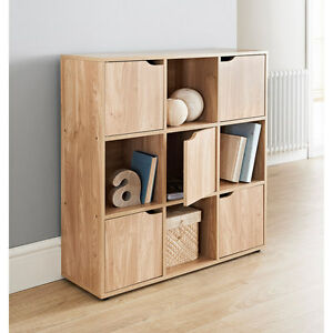 9 Cube 5 Doors Shelves For Storage Books Shelving - Toys Oak Finish