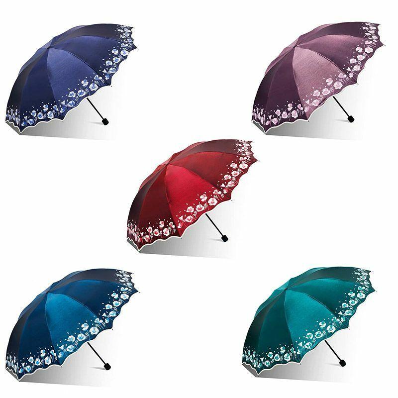 Newest Big Sun Umbrella Rain Women Flower Folding Double Uv