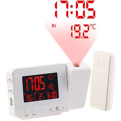 infactory Funk-Wetterstation mit Projektions-Wecker, Außensensor und USB, weiß