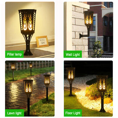 (2/4 Pack 96 LED Solar Fire Flame Effect Torches Light Dusk to Dawn Waterproof US)