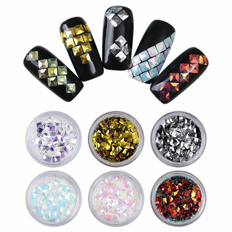 6 Boxes Nail Glitter Sequins Holographic Silver Flakes 3D Nail Art Decoration