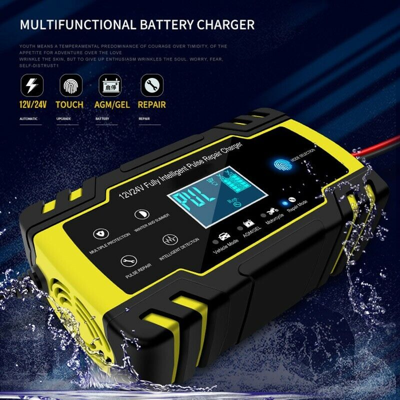 Detalhes sobre Car battery charger 12V24V with cooling fan LCD screen display USEUUK plug
