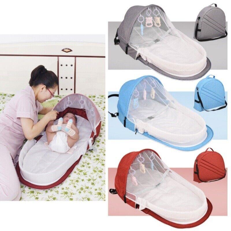 Infant Sleeping Basket Travel Bassinet Foldable Baby Bed Sunshade Mosquito Net
