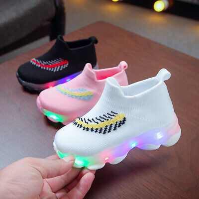 Kids Children Boys Girls LED Light Up Trainers Knitted Sneakers Luminous Shoes*