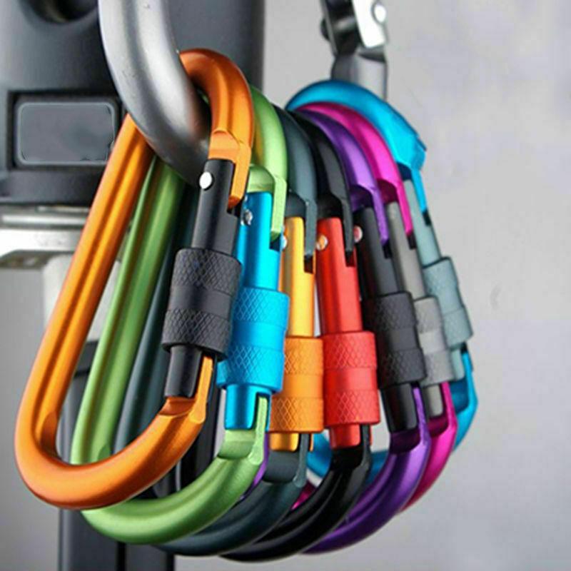 5X Heavy Duty Carabiner Clip Hook D-Ring Keychain Screw Lock